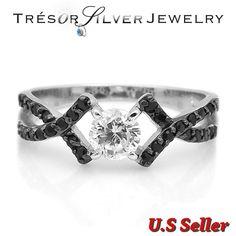 Womens .925 sterling silver black Cubic Zirconia Engagement Rings, Engagement Ring Sizes, Wedding Rings, Sterling Silver, Accessories, Black, Jewelry, Women, Jewlery
