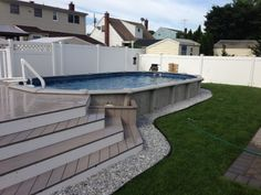 Amazing Above-ground swimming pool ideas of what above ground pools can do for your yard, showcasing the myriad shapes and styles available on a budget. pool landscaping The Ultimate Guide to Above-Ground Pool Ideas with Picture Semi Above Ground Pool, In Ground Pools, Above Ground Pool Landscaping, Backyard Pool Landscaping, Landscaping Ideas, Swimming Pool Decks, My Pool, Pool With Deck, Piscina Intex