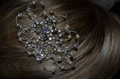 Bridal haircomb, made with vintage brooch, embelished with loops of ivory Swarovski pearls and Swarovski crystals