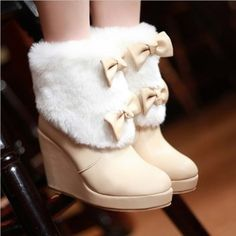 shoes white fur winter boots