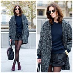 Big coats and leather shorts, a trend I love SOMUCH.