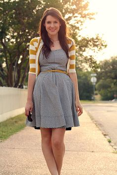 beautiful stripe dress...  love new ideas for laying out patterns on striped fabric