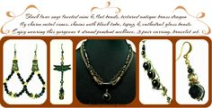 Add a little drama wearing this necklace-earring-bracelet-set with your favorite wardrobe items. Black faux onyx beaded pendant necklace with dragon fly closure 3 pair earring & bracelet set.