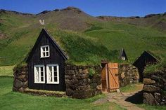 Norweigan turf roofed homes