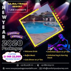 Comfort Your Journey Pvt Ltd. (CYJ) offer New Year Packages 2020 in Jimcorbett for your outstanding holiday includes numerous services for your terrific celebration.