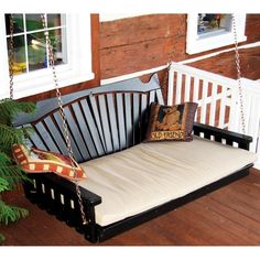 Fan Back Swing Bed or in Cedar or Pine) Porch Swings The above outdoor swing is shown painted in Black.This traditional patio Amish Furniture, Garden Furniture, Painted Furniture, Outdoor Furniture, Outdoor Decor, Porch Furniture, Lounge Furniture, Outdoor Ideas, Foyers