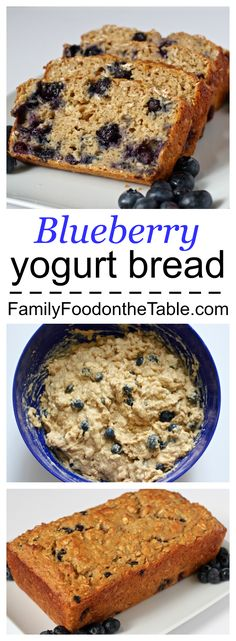 Whole grain blueberry yogurt bread – Family Food on the Table Blueberry yogurt bread – moist, yummy, whole grains and no butter or oil! Blueberry Bread, Blueberry Recipes, Healthy Recipes, Healthy Treats, Healthy Breakfasts, Healthy Foods, Healthy Eating, Dessert Bread, Dessert Recipes