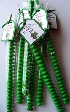 Green M&M; Stix for St. Patty's Day Treats....cute.  (they actually sell that size bag)