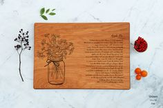 Personalized Wood Cutting Board Engraved Mason Jar With Flowers Apple Pie Recipe…