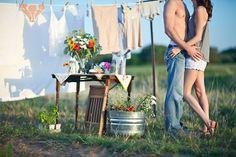laundry themed photoshoot, vintage, laundry line, couple, love