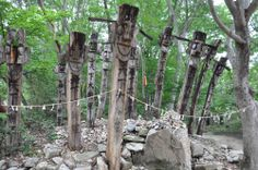 Jangseung (Korean totem poles). This indicates the boundaries of the village and is used to scare off demons.