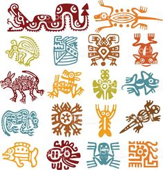 Set - mexican symbols royaltyfri vektorgrafik i bildbank