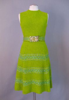 Vintage 60s ST JOHN Dress Mod Wool Knit Small S bust 34 $135 at Couture Allure Vintage Clothing