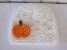 Cute & Kozy Crocheted Fall Shell Hat  White with by Kookstickers,