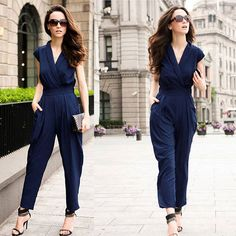 Nemidor mujeres moda con cuello en v floja ocasional azul Jumpsuit 2015(China (Mainland))