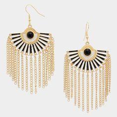 Enamel Fan Fringe Earrings