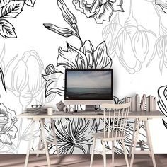 Dark Floral Watercolor Print Wallpaper - Self Adhesive Wallpaper Flowers - Floral Wallpaper Mural Peel and Stick - Peony for Girls Nursery Watercolor Wallpaper, Wallpaper Paste, Print Wallpaper, Peel And Stick Wallpaper, Watercolor Print, Self Adhesive Wallpaper, Nursery Room, Textured Walls, Wall Murals