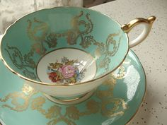 Antique Aynsley bone china JA Bailey signed tea cup set, robins egg blue and gold tea cup and saucer, English tea set, pink rose cup saucer via Etsy