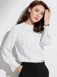 Shop Pure Color Stand Collar Lantern Sleeve Chiffon Blouse at EZPOPSY. Filipino Fashion, Short Sleeve Collared Shirts, Stylish Work Outfits, Sleeves Designs For Dresses, Blouse And Skirt, Blouse Styles, Chiffon Tops, White Chiffon Blouse, Corsage