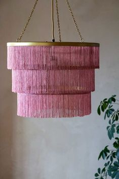 A tassel tiered chandelier adds both colour & texture to a room. This pink version will look fab in any room but we especially think it's great for a girls room Feather Light Shade, Light Shades, Pink Chandelier, Chandelier Lighting, Chandeliers, Types Of Lighting, Unique Lighting, Wes Anderson Style, Drawing Room Design