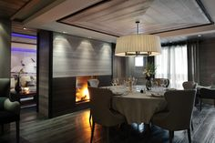 The Dining Room of the Beryl Suite, Grandes Alpes Private Hotel, Courchevel Courchevel 1850, Chalet Interior, French Interior, Interior Design, Bedroom Night, Bedroom Floor Plans, Ski Chalet, Bedroom With Ensuite, Chalets