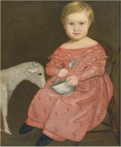 Girl with lamb.(Artist unknown to me)