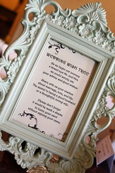 Wish tree poem in a cute frame. This I can probably do.