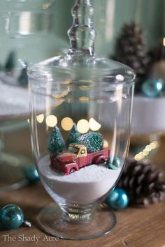 Apothecary Jar - Christmas Tree in a Truck  Snow Scene Christmas Scenes, Christmas Jars, Merry Little Christmas, Christmas Villages, White Christmas, Christmas Time Is Here, Christmas Holidays, Christmas Decorations, Christmas Red Truck