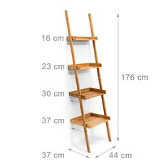 Relaxdays ladder rack bamboo HxWxD 176 x 44 x 37 cm floor shelf with … – Bookcase and pallet decoration ideas Ladder Shelf Decor, Ladder Bookcase, Bookshelf Styling, Bookcases, Floor Shelf, Bathroom Interior Design, Wood Furniture, Bedroom Decor, Decoration