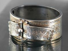 1834 Antique Sterling Silver Bracelet Hinged Georgian Silver Cuff / Hallmarked Silver with Gold Detail / 1 Inch Wide Silver Bangle Silver Bangles, Silver Cuff, Sterling Silver Bracelets, Victorian Jewelry, Antique Jewelry, Hand Engraving, Cuff Bracelets, Gemstones, Antiques