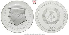 RITTER DDR, 20 Mark 1989, Müntzer, J. 1624, PP #coins #numismatics