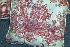New Custom Made French Country Chair Cushion(s) Waverly Country Life Toile Red  #CustomMade #FrenchCountry
