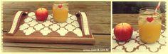 Bandeja de madeira com alça de couro e stencil. PAP: www.casa18.com.br