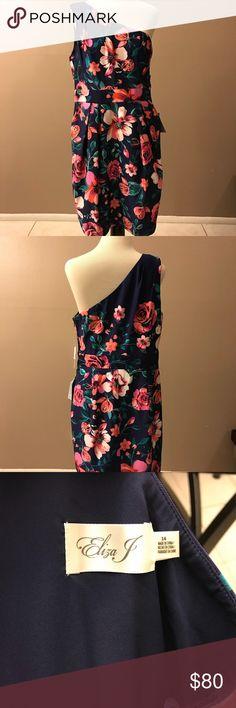 Eliza J blue floral one shoulder dress.  NWT. Blue floral dress.  Has pockets and lining.  Size 14. Eliza J Dresses One Shoulder