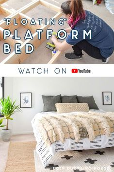 So easy to make! Check out this DIY platform bed that gives the illusion that it's floating. Great for adding a lighter & airy feel to a bedroom instead of a big, heavy bed (this bed is king size but doesn't look like it takes up too much room). Floating Platform Bed, Floating Bed, Diy Furniture Building, Home Furniture, Diy Bett, Diy Bed Frame, Handmade Furniture, Decorating Your Home, Houses