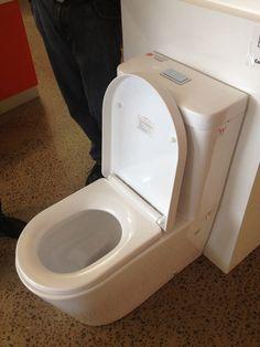 White toilet against slate tiles