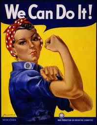 "A finely restored version of J. Howard Miller's iconic Rosie the Riveter poster. Rosie proclaims, ""We Can Do It!"" Rosie the Riveter came to represent women working the production line on the home front during WWII. World War Two Rosie The Riveter Poster, Rosie Riveter, Rosie The Riveter Costume, American Apparel, American Women, American History, American War, American Freedom, American Spirit"