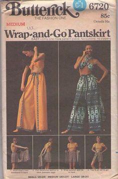 MOMSPatterns Vintage Sewing Patterns - Butterick 6720 Vintage 70's Sewing Pattern FOXY Easy Bohemian Boho Wrap Around Pantskirt, Thai Pants, Diaper Shorts
