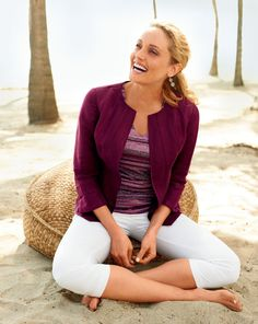 Easy day jacket, Starshine stripe tee, Natural bi-stretch crops #ColdwaterCreek
