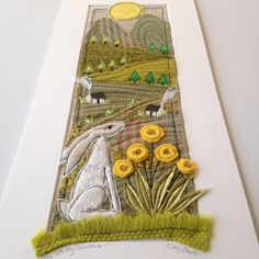 'You are my sunshine' This song never fails to bring a smile to my face and a tear to my eye with memories of my lovely Mum! 😊☀️💛I've just added this one to my Etsy shop sale, where it's waiting for its forever home xxx Freehand Machine Embroidery, Machine Embroidery Applique, Embroidery Fabric, Fabric Art, Fabric Crafts, Sewing Art, Sewing Crafts, Sewing Projects, Textile Fiber Art