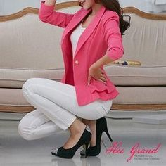 Blazer Women Natural Color Jacket Single Breasted Notched Women Full Sleeve Solid Blazers