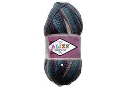 Self striping wool sock yarn skein Alize Destash by Knitwoolsocks