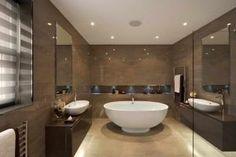 Contemporary bathroom design brown wall color beige flooring modern bathroom colors – 50 ideas how to decorate your bathroom Bathroom Recessed Lighting, Contemporary Bathroom Lighting, Bathroom Lighting Design, Modern Bathroom Design, Bathroom Interior, Bathroom Designs, Interior Walls, Modern Bathrooms, Interior Ideas