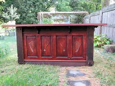 upcycled door beams turned irish pub style bar, diy, painted furniture, repurposing upcycling, rustic furniture, woodworking projects
