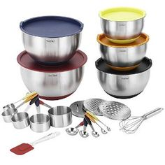 Amazon.com: VonShef 17 Piece Premium Mixing Bundle with 5 Stainless Steel Mixing Bowls, Measuring Spoon Set, Measuring Cup Set, Graters, Whisk & Spatula: Kitchen & Dining