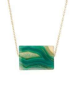 Look what I found on #zulily! Gold & Emerald Agate Slab Pendant Necklace by Luxe Group #zulilyfinds