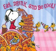 By Charles Schulz word-image combination: duro-specific Both word and image portray the same message, that Snoopy and Woodstock are eating, drinking and being cool with the sunnies. Meu Amigo Charlie Brown, Charlie Brown And Snoopy, Snoopy Comics, Fun Comics, Peanuts Cartoon, Peanuts Snoopy, Schulz Peanuts, Peanuts Comics, Snoopy Pictures