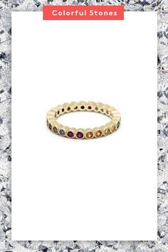 What's more beautiful than a rainbow? A rainbow-inspired band that has all hues represented. #refinery29 http://www.refinery29.com/new-engagement-ring-trends#slide-4