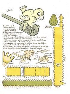 Brinquedos Autômatos - Automata toys - Bastelbögen Mechanischen - Juguetes autómatas - Karakuri: Carrinho do pássaro bicador