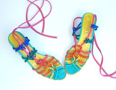 vtg 80s peep toe RAINBOW strappy lace up GLADIATOR wedge SANDALS avant garde 6.5 festival shoes. $119.00, via Etsy.